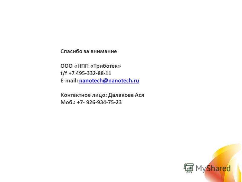 Спасибо за внимание ООО «НПП «Триботек» t/f +7 495-332-88-11 E-mail: nanotech@nanotech.ru Контактное лицо: Далакова Ася Моб.: +7- 926-934-75-23nanotech@nanotech.ru