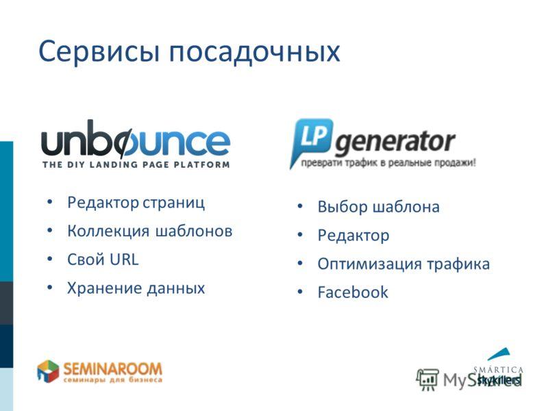 Сервисы посадочных Редактор страниц Коллекция шаблонов Свой URL Хранение данных Выбор шаблона Редактор Оптимизация трафика Facebook