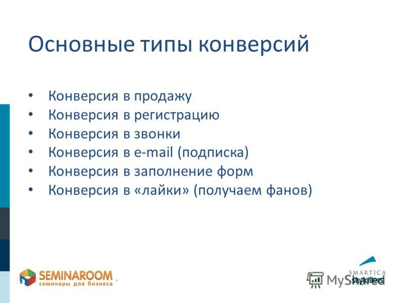 Конверсия в продажу Конверсия в регистрацию Конверсия в звонки Конверсия в e-mail (подписка) Конверсия в заполнение форм Конверсия в «лайки» (получаем фанов) Основные типы конверсий