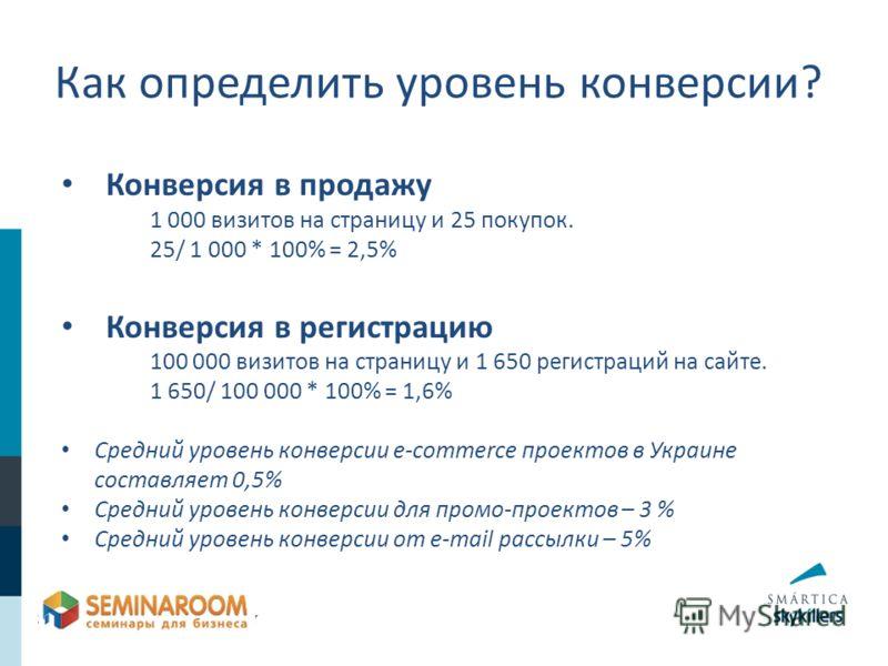 Конверсия в продажу 1 000 визитов на страницу и 25 покупок. 25/ 1 000 * 100% = 2,5% Конверсия в регистрацию 100 000 визитов на страницу и 1 650 регистраций на сайте. 1 650/ 100 000 * 100% = 1,6% Средний уровень конверсии e-commerce проектов в Украине