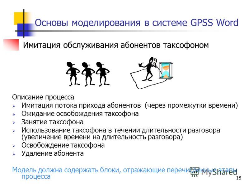 18 Основы моделирования в системе GPSS Word Описание процесса Имитация потока прихода абонентов (через промежутки времени) Ожидание освобождения таксофона Занятие таксофона Использование таксофона в течении длительности разговора (увеличение времени