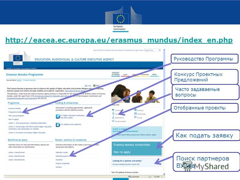 http://eacea.ec.europa.eu/erasmus_mundus/index_en.php Руководство Программы Конкурс Проектных Предложений Как подать заявку Отобранные проекты Поиск партнеров ВУЗов Часто задаваемые вопросы