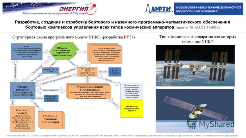 Структурная схема программного модуля УНКО (разработка ВУЗа) Типы космических аппаратов для которых применим УНКО Разработка, создание и отработка бортового и наземного программно-математического обеспечения бортовых комплексов управления всех типов