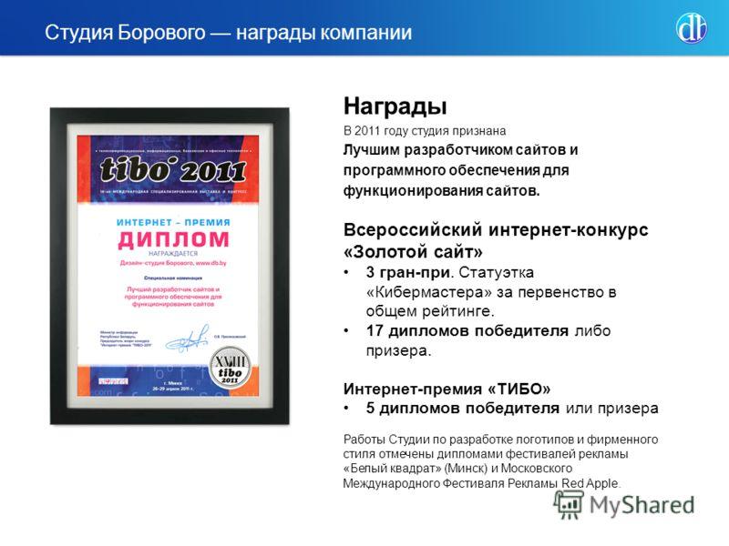 Награды В 2011 году студия признана Лучшим разработчиком сайтов и программного обеспечения для функционирования сайтов. Всероссийский интернет-конкурс «Золотой сайт» 3 гран-при. Статуэтка «Кибермастера» за первенство в общем рейтинге. 17 дипломов поб