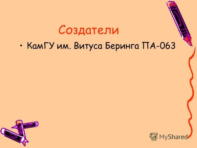 Создатели КамГУ им. Витуса Беринга ПА-063