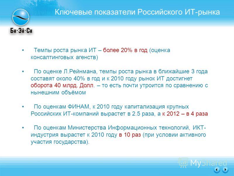 Ключевые показатели Российского ИТ-рынка Темпы роста рынка ИТ – более 20% в год (оценка консалтинговых агенств) По оценке Л.Рейнмана, темпы роста рынка в ближайшие 3 года составят около 40% в год и к 2010 году рынок ИТ достигнет оборота 40 млрд. Долл