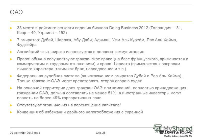 20 сентября 2012 года Стр. 25 ОАЭ 33 место в рейтинге легкости ведения бизнеса Doing Business 2012 (Голландия – 31, Кипр – 40, Украина – 152) 7 эмиратов: Дубай, Шарджа, Абу-Даби, Аджман, Умм Аль-Кувейм, Рас Аль Хайма, Фуджейра Английский язык широко