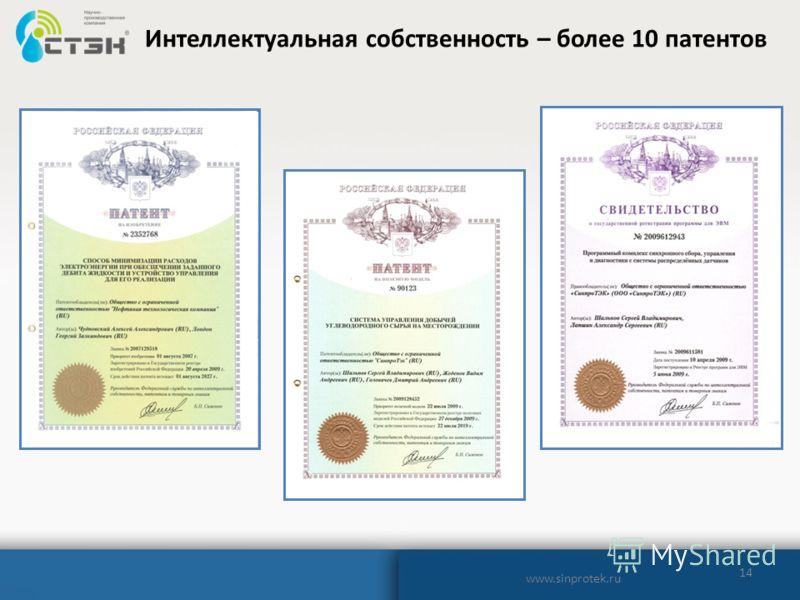 14 Интеллектуальная собственность – более 10 патентов www.sinprotek.ru