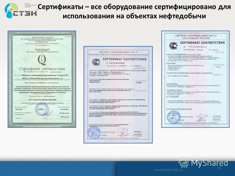 15 Сертификаты – все оборудование сертифицировано для использования на объектах нефтедобычи www.sinprotek.ru