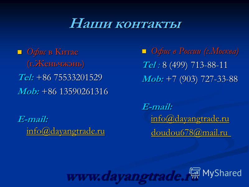 Наши контакты Офис в Китае (г.Женьчжэнь) Офис в Китае (г.Женьчжэнь) Tel: +86 75533201529 Mob: +86 13590261316 E-mail: info@dayangtrade.ru info@dayangtrade.ru Офис в России (г.Москва) Офис в России (г.Москва) Tel : 8 (499) 713-88-11 Mob: +7 (903) 727-