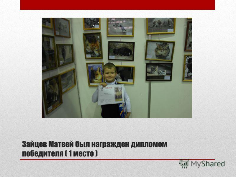 Зайцев Матвей был награжден дипломом победителя ( 1 место )