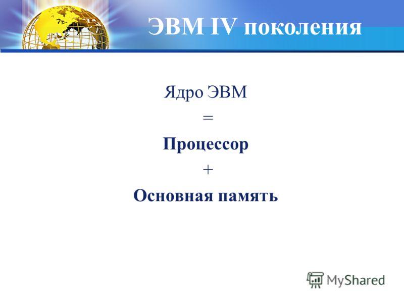 Ядро ЭВМ = Процессор + Основная память ЭВМ IV поколения