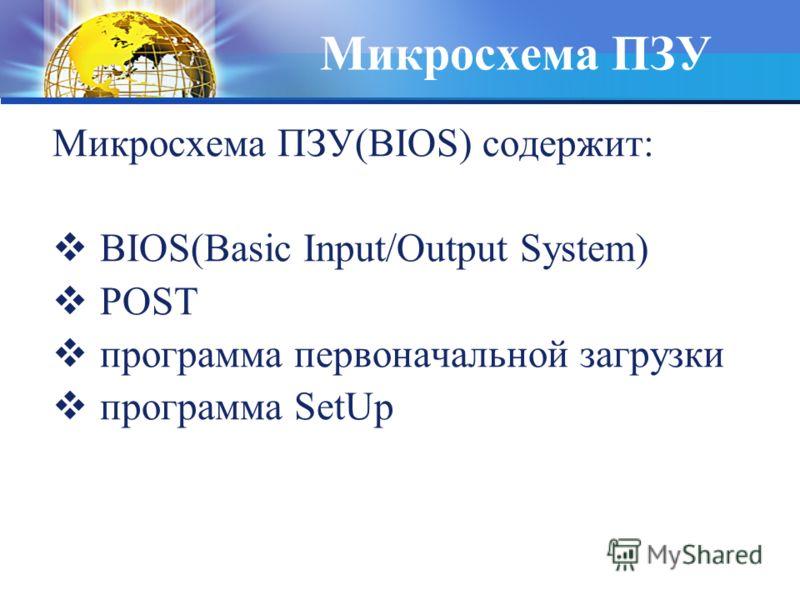 Микросхема ПЗУ Микросхема ПЗУ(BIOS) содержит: BIOS(Basic Input/Output System) POST программа первоначальной загрузки программа SetUp