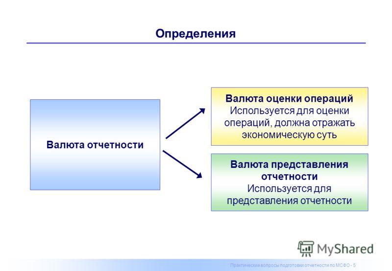 Практические вопросы подготовки отчетности по МСФО - 5 Определения Валюта отчетности Валюта представления отчетности Используется для представления отчетности Валюта оценки операций Используется для оценки операций, должна отражать экономическую суть