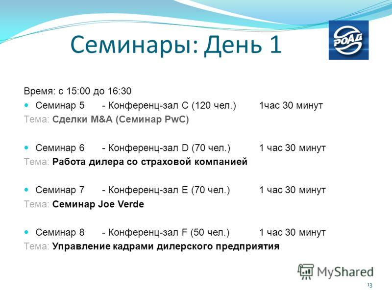Время: с 15:00 до 16:30 Семинар 5 - Конференц-зал C (120 чел.) 1час 30 минут Тема: Сделки M&A (Семинар PwC) Семинар 6- Конференц-зал D (70 чел.) 1 час 30 минут Тема: Работа дилера со страховой компанией Семинар 7- Конференц-зал E (70 чел.) 1 час 30 м