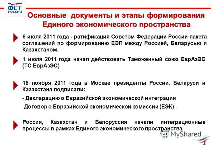 Основные документы и этапы формирования Единого экономического пространства 6 июля 2011 года - ратификация Советом Федерации России пакета соглашений по формированию ЕЭП между Россией, Беларусью и Казахстаном. 1 1 июля 2011 года начал действовать Там