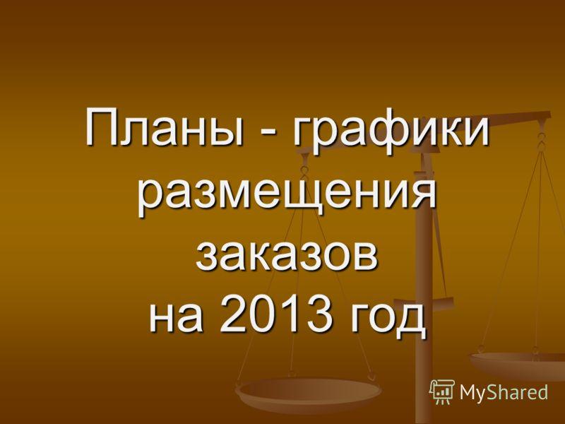 Планы - графики размещения заказов на 2013 год
