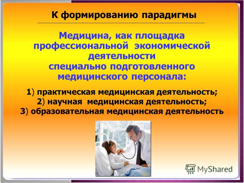Медицина, как площадка профессиональной экономической деятельности специально подготовленного медицинского персонала: 1) практическая медицинская деятельность; 2) научная медицинская деятельность; 3) образовательная медицинская деятельность К формиро