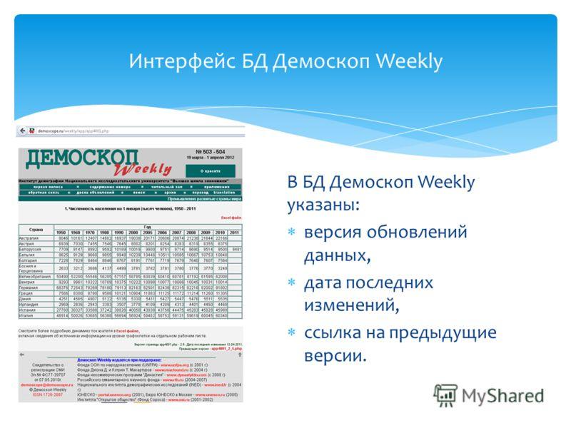 В БД Демоскоп Weekly указаны: версия обновлений данных, дата последних изменений, ссылка на предыдущие версии. Интерфейс БД Демоскоп Weekly