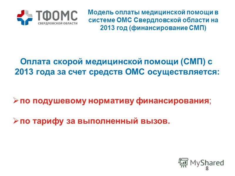 Модель оплаты медицинской помощи в системе ОМС Свердловской области на 2013 год (финансирование СМП) Оплата скорой медицинской помощи (СМП) с 2013 года за счет средств ОМС осуществляется: по подушевому нормативу финансирования; по тарифу за выполненн