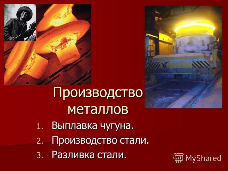Производство металлов 1. Выплавка чугуна. 2. Производство стали. 3. Разливка стали.