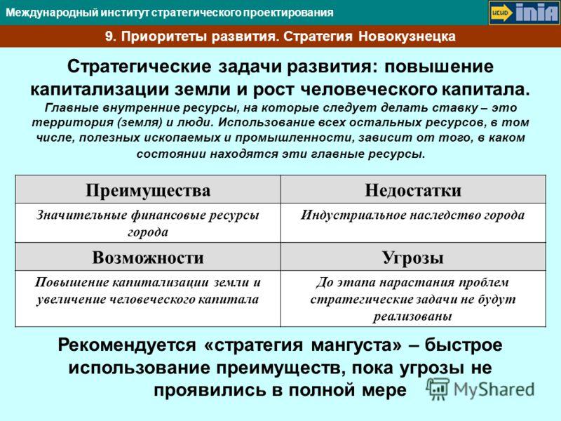 Международный институт стратегического проектирования 9. Приоритеты развития. Стратегия Новокузнецка Стратегические задачи развития: повышение капитализации земли и рост человеческого капитала. Главные внутренние ресурсы, на которые следует делать ст