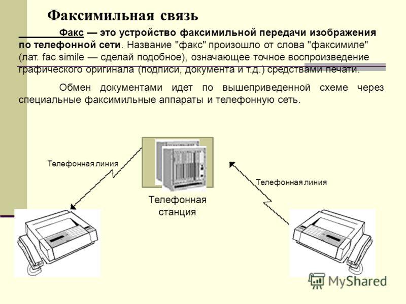 Телефонная линия Факсимильная связь Телефонная линия Телефонная станция Факс это устройство факсимильной передачи изображения по телефонной сети. Название