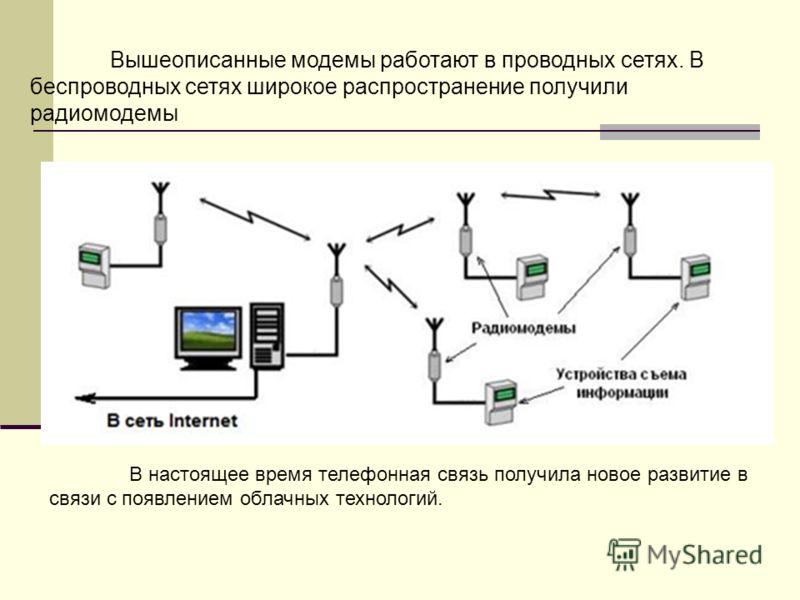 Вышеописанные модемы работают в проводных сетях. В беспроводных сетях широкое распространение получили радиомодемы В настоящее время телефонная связь получила новое развитие в связи с появлением облачных технологий.