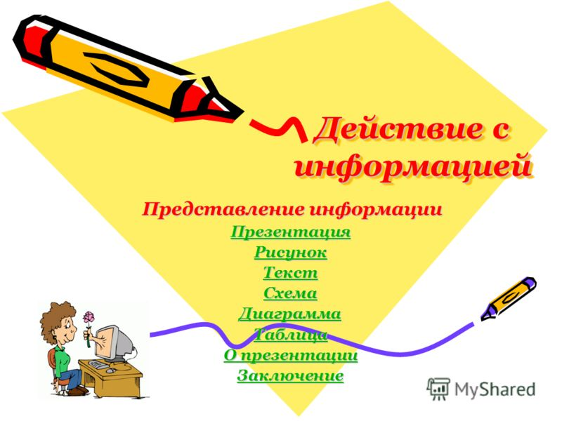 Действие с информацией Представление информации Представление информации Презентация Рисунок Текст Схема Диаграмма Таблица О презентации О презентации Заключение