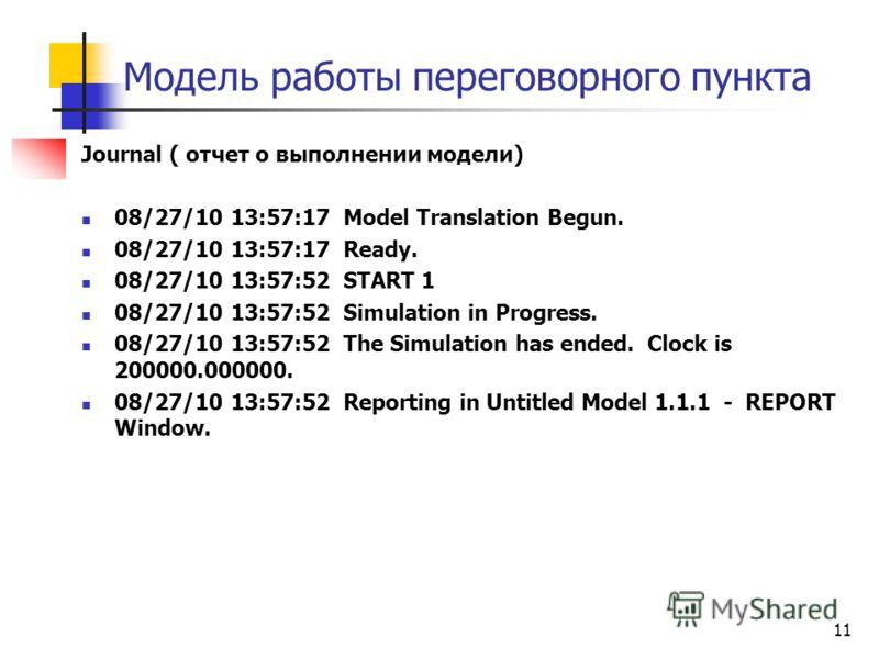 Модель работы переговорного пункта Journal ( отчет о выполнении модели) 08/27/10 13:57:17 Model Translation Begun. 08/27/10 13:57:17 Ready. 08/27/10 13:57:52 START 1 08/27/10 13:57:52 Simulation in Progress. 08/27/10 13:57:52 The Simulation has ended