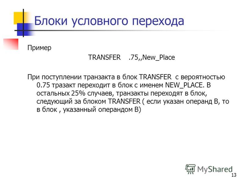 Блоки условного перехода Пример TRANSFER.75,,New_Place При поступлении транзакта в блок TRANSFER с вероятностью 0.75 тразакт переходит в блок с именем NEW_PLACE. В остальных 25% случаев, транзакты переходят в блок, следующий за блоком TRANSFER ( если