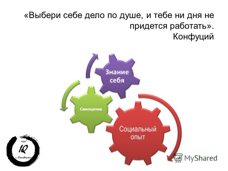 «Выбери себе дело по душе, и тебе ни дня не придется работать». Конфуций Социальный опыт Самоценка Знание себя