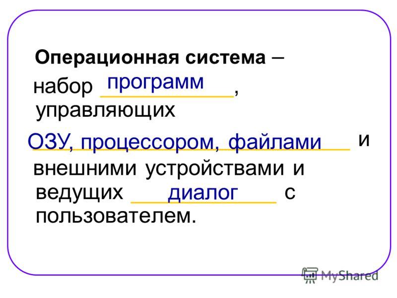 Операционная система – набор ___________, управляющих __________________________ и внешними устройствами и ведущих ____________ с пользователем. программ ОЗУ, процессором, файлами диалог
