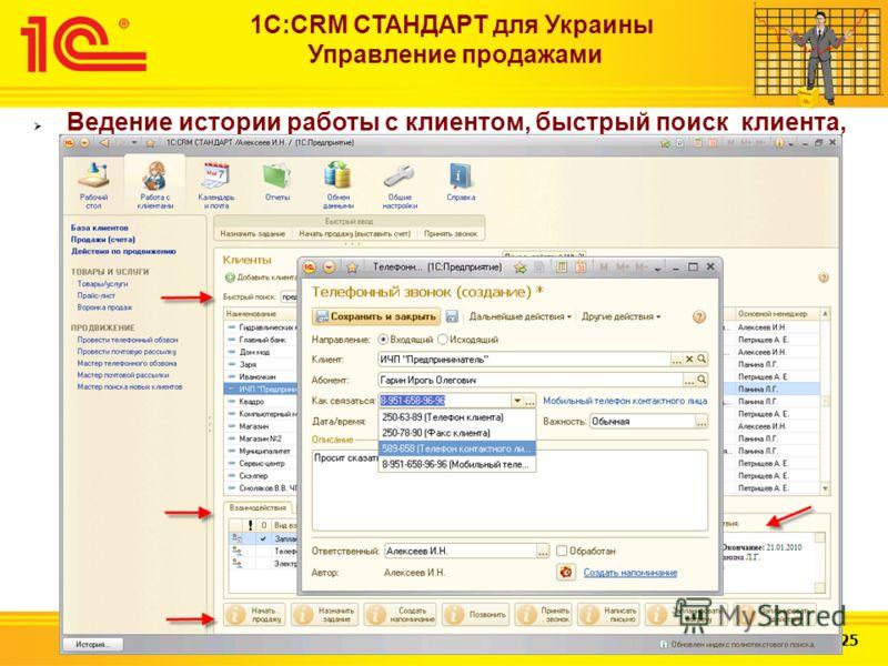 Слайд 12 из 25 1С:CRM СТАНДАРТ для Украины Управление продажами Ведение истории работы с клиентом, быстрый поиск клиента, регистрация и просмотр по нему всех имеющихся данных (регистрация входящих и исходящих телефонных звонков, планирование встреч,