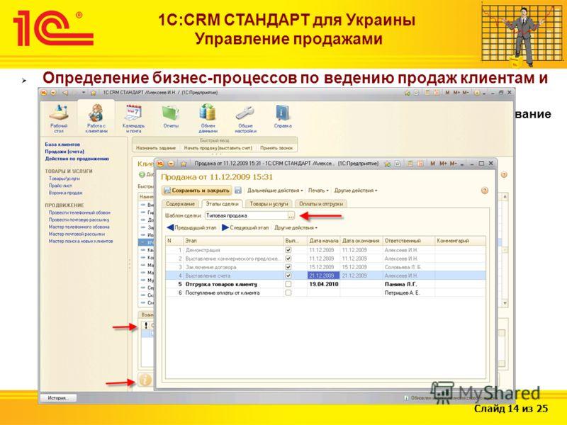 Слайд 14 из 25 1С:CRM СТАНДАРТ для Украины Управление продажами Определение бизнес-процессов по ведению продаж клиентам и их ведение согласно этим шаблонам (использование нескольких вариантов продаж клиентам в зависимости от категории клиента, планир
