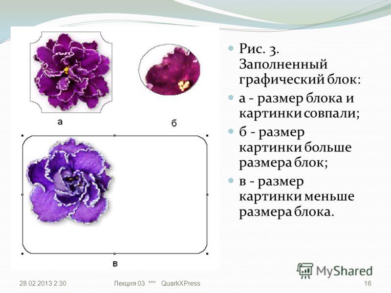 Рис. 3. Заполненный графический блок: а - размер блока и картинки совпали; б - размер картинки больше размера блок; в - размер картинки меньше размера блока. 28.02.2013 2:32Лекция 03 *** QuarkXPress16