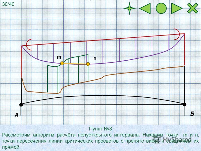 А Б Пункт 3 Рассмотрим алгоритм расчёта полуоткрытого интервала. Находим точки m и n, точки пересечения линии критических просветов с препятствием, и соединяем их прямой. 30/40