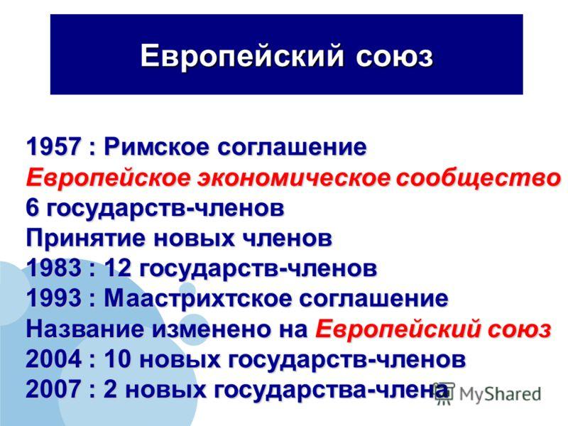 Европейский союз 1957 : Римское соглашение Европейское экономическое сообщество 6 государств-членов Принятие новых членов 1983 : 12 государств-членов 1993 : Маастрихтское соглашение Название изменено на Европейский союз 2004 : 10 новых государств-чле