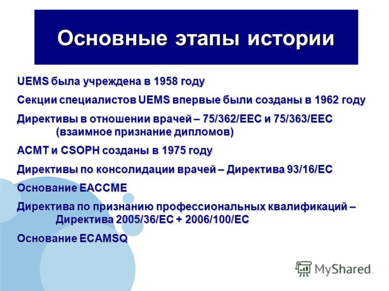 Основные этапы истории UEMS была учреждена в 1958 году Секции специалистов UEMS впервые были созданы в 1962 году Директивы в отношении врачей – 75/362/EEC и 75/363/EEC (взаимное признание дипломов) ACMT и CSOPH созданы в 1975 году Директивы по консол