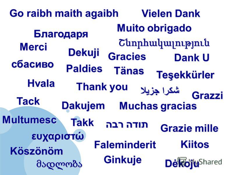 Thank you Merci Muito obrigado Vielen Dank Grazie mille Muchas gracias Tack Dank U Kiitos ευχαριστώ сбасиво Dakujem Dekuji Köszönöm Go raibh maith agaibh Ginkuje Grazzi Multumesc Takk Благодаря Dėkoju Gracies Faleminderit Hvala Teşekkürler Tänas תודה