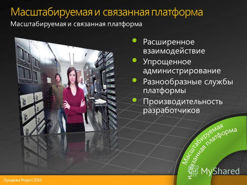 Продажа Project 2010 Расширенное взаимодействие Упрощенное администрирование Разнообразные службы платформы Производительность разработчиков