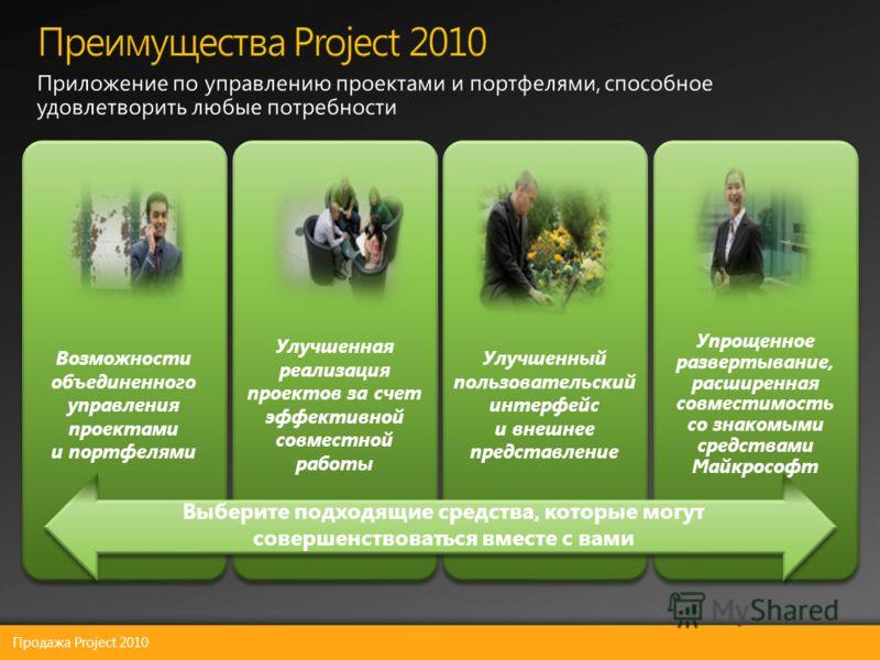 Продажа Project 2010 Возможности объединенного управления проектами и портфелями Улучшенная реализация проектов за счет эффективной совместной работы Улучшенный пользовательски й интерфейс и внешнее представление Упрощенное развертывание, расширенная