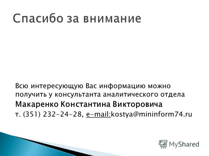 Всю интересующую Вас информацию можно получить у консультанта аналитического отдела Макаренко Константина Викторовича т. (351) 232-24-28, e-mail:kostya@mininform74.ru