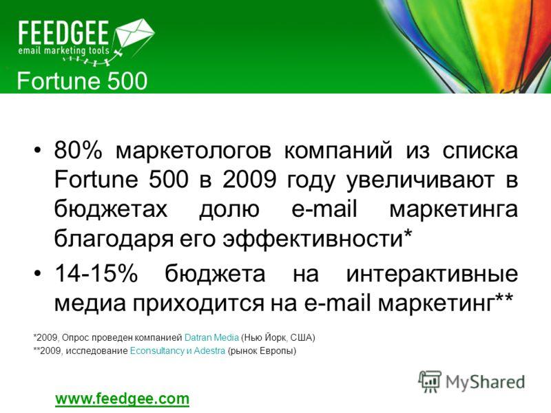 Fortune 500 80% маркетологов компаний из списка Fortune 500 в 2009 году увеличивают в бюджетах долю e-mail маркетинга благодаря его эффективности* 14-15% бюджета на интерактивные медиа приходится на e-mail маркетинг** *2009, Опрос проведен компанией