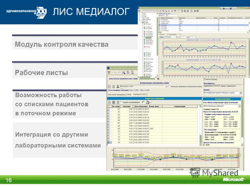 ЛИС МЕДИАЛОГ 16 Интеграция со другими лабораторными системами Модуль контроля качества Рабочие листы Возможность работы со списками пациентов в поточном режиме