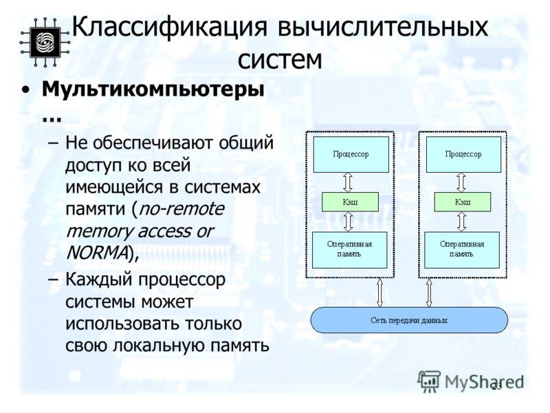 23 Мультикомпьютеры … –Не обеспечивают общий доступ ко всей имеющейся в системах памяти (no-remote memory access or NORMA), –Каждый процессор системы может использовать только свою локальную память Классификация вычислительных систем
