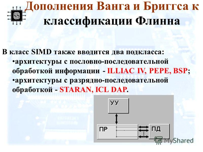 Дополнения Ванга и Бриггса к классификации Флинна В класс SIMD также вводится два подкласса: архитектуры с пословно-последовательной обработкой информации - ILLIAC IV, PEPE, BSP; архитектуры с разрядно-последовательной обработкой - STARAN, ICL DAP.