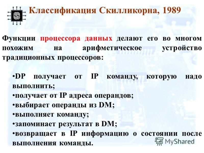 Функции процессора данных делают его во многом похожим на арифметическое устройство традиционных процессоров: DP получает от IP команду, которую надо выполнить; получает от IP адреса операндов; выбирает операнды из DM; выполняет команду; запоминает р