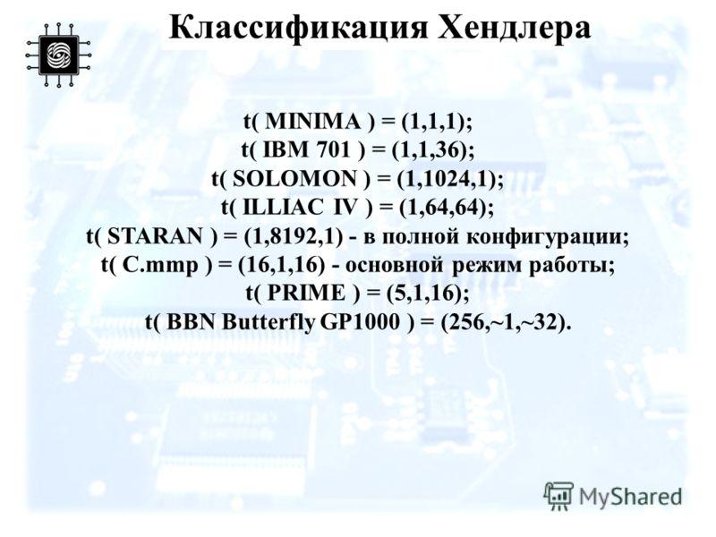 t( MINIMA ) = (1,1,1); t( IBM 701 ) = (1,1,36); t( SOLOMON ) = (1,1024,1); t( ILLIAC IV ) = (1,64,64); t( STARAN ) = (1,8192,1) - в полной конфигурации; t( C.mmp ) = (16,1,16) - основной режим работы; t( PRIME ) = (5,1,16); t( BBN Butterfly GP1000 )