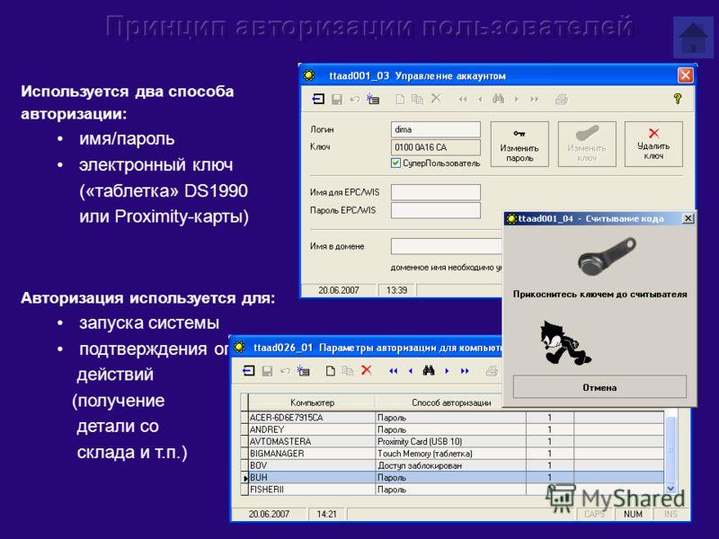 Используется два способа авторизации: имя/пароль электронный ключ («таблетка» DS1990 или Proximity-карты) Авторизация используется для: запуска системы подтверждения определенных действий (получение детали со склада и т.п.)